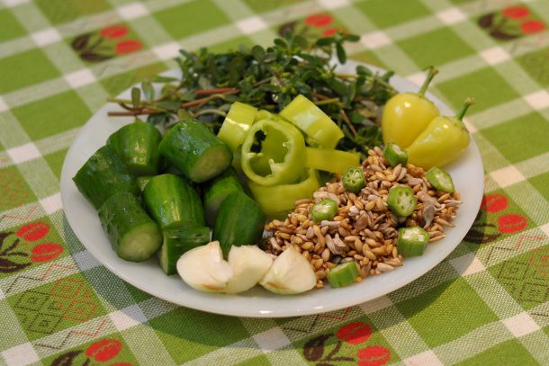 Какво ядат суровоядците? - Краставици, тученица, чушки и лук с покълнал лимец, покълнал слънчоглед и бамя.