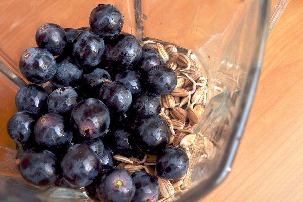 Слагаме всичко в блендера, като отделяме зрънцата грозде от чепката и слагаме само тях