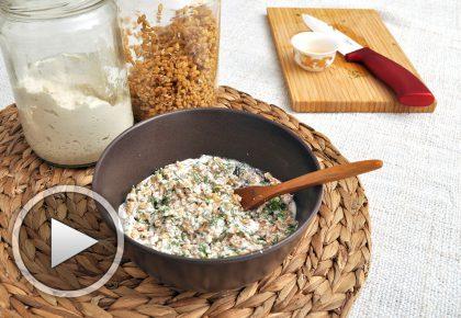 Покълнал лимец с крема сирене от кашу