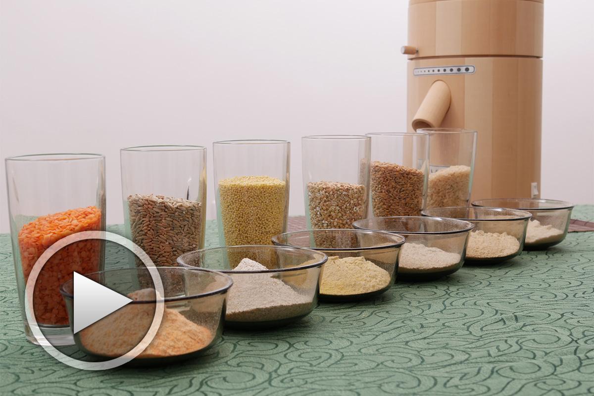Мелене на различни видове брашно с каменна мелничка